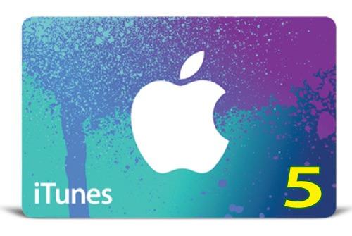 itunes gift card original código valor 5 usd usa
