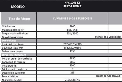 jac1063 chasis m.cummins 5.90 carrozable carga 5.5 ton + iva