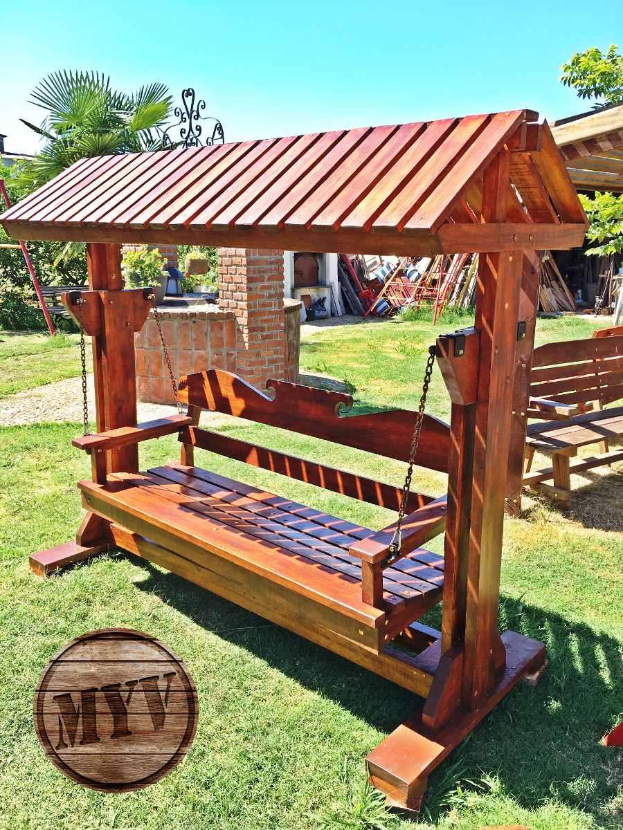 Hamacas con techo decoraci n jard n en madera para exterior en mercado libre Hamacas de jardin