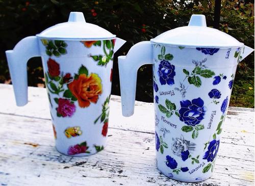 jarra x2 plastico jugo agua flores cocina