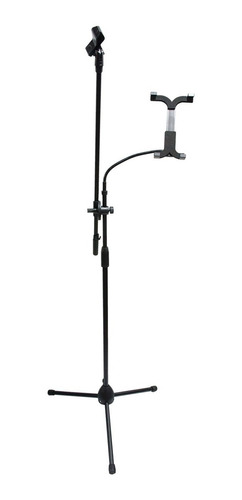 jirafa pie de microfono con soporte para tablet