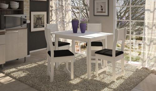 jogo de jantar com 4 cadeiras dallas 1,10cm branca e preto