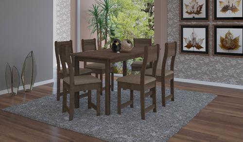 jogo de jantar com 6 cadeiras dallas 1,50cm noce e bege