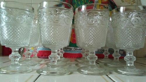 juego 12 copas de vidrio labradas. antiguas