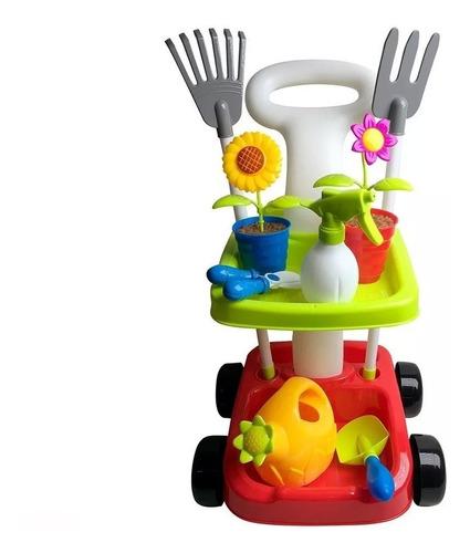 juego carrito de jardinería flores plantas de niña niño
