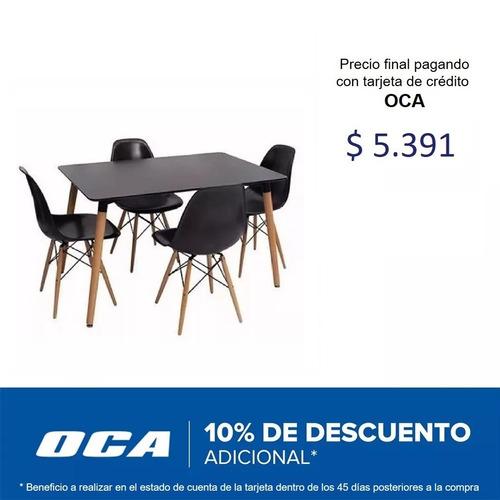 juego comedor eames mesa 4 sillas mdf negro