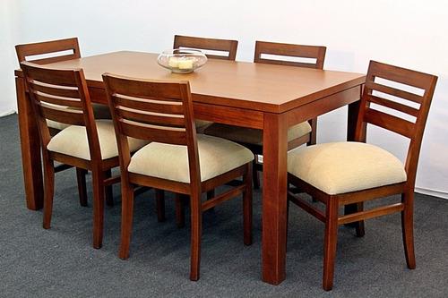 juego comedor mallorca en madera de cedro con 6 sillas