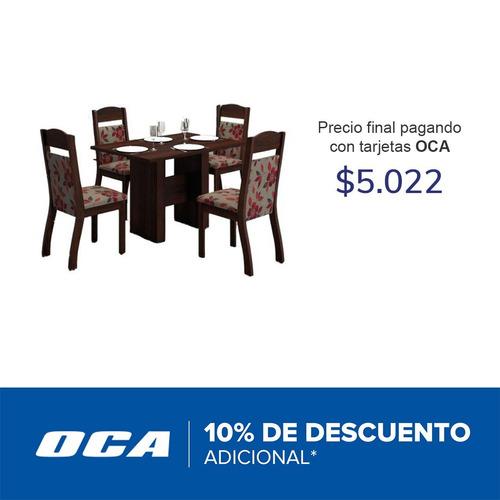 juego comedor mesa 4 sillas chocolate quick #oca