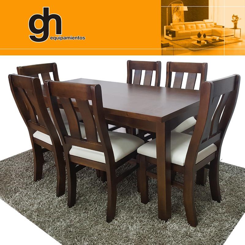 Juego comedor muebles de madera mesa con sillas gh for Juego de living comedor moderno