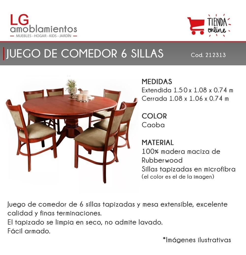 Comedor Mesa Extensible 6 Sillas Tapizadas Madera Lg Juego c51TKlFJ3u
