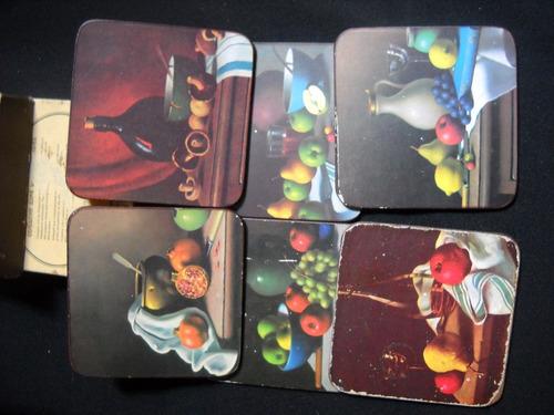 juego de 6 posavasos, con laminas de frutas.