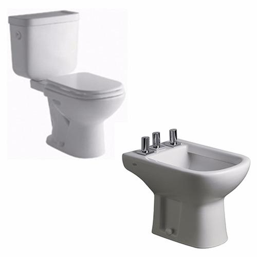 juego de baño inodoro largo+deposito dual +bidet ferrum bari