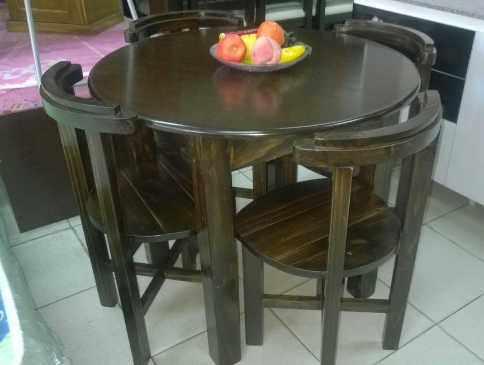 Juego de comedor 4 sillas mesa redonda en madera 6 for Juego de comedor de madera de 6 sillas