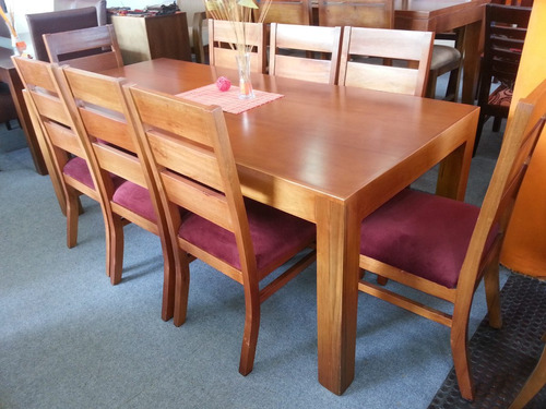 juego de comedor 8 personas mesa sillas madera maciza