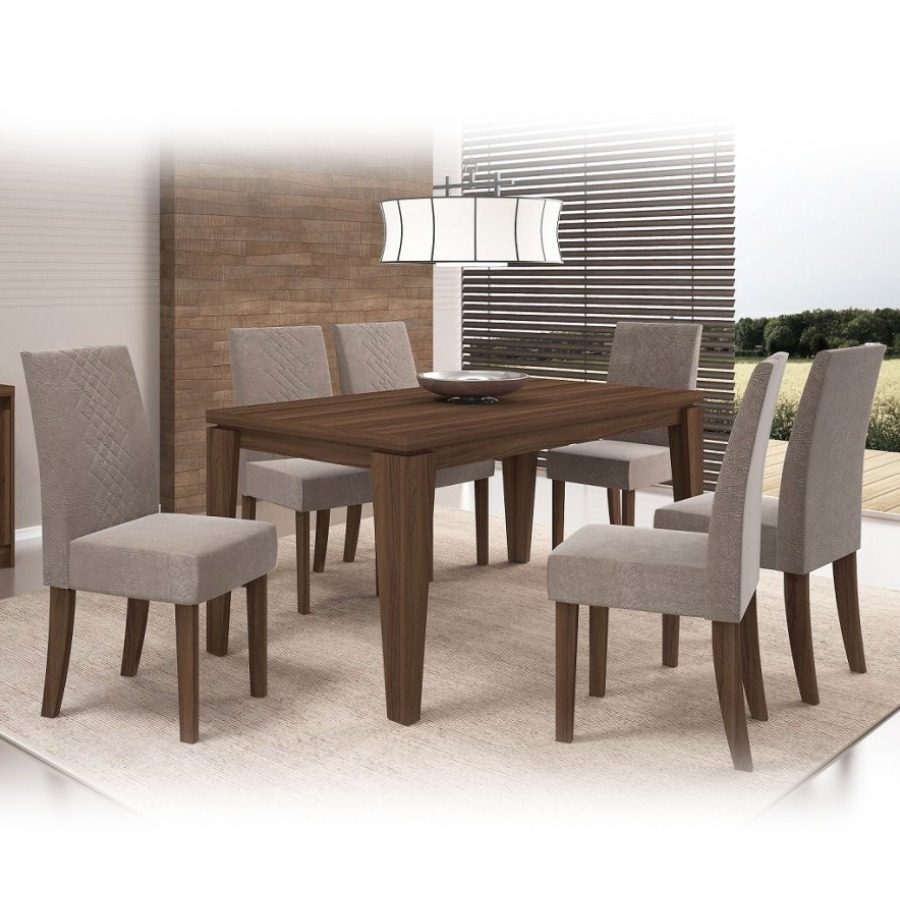 Juego de comedor con 6 sillas tapizadas en tela suede ch for Precio juego de comedor con 6 sillas