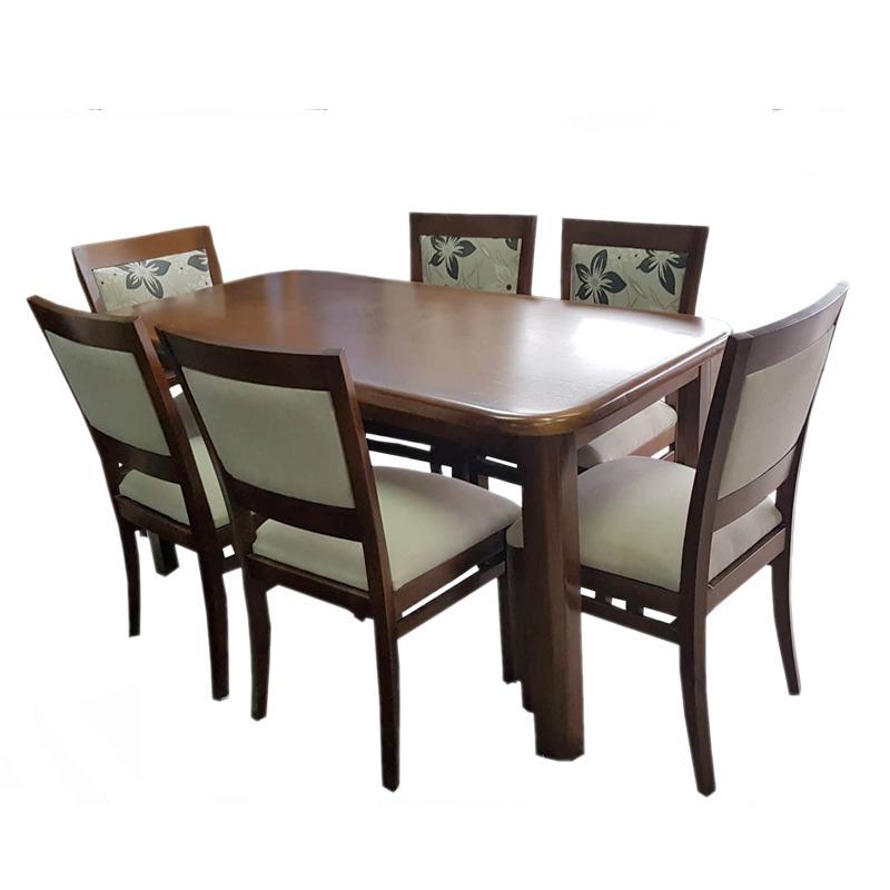 Juego de comedor con 6 sillas tapizadas modernas madera - Sillas tapizadas modernas ...