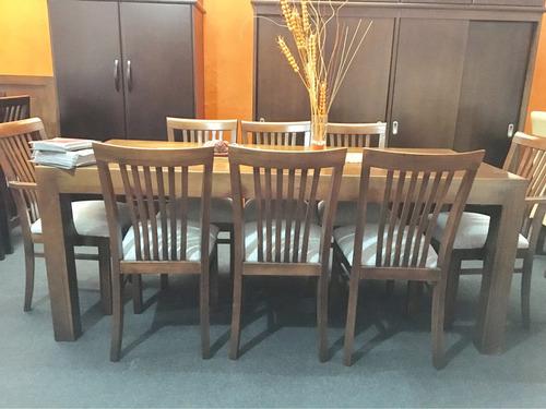 juego de comedor con 8 sillas. madera maciza eucaliptus