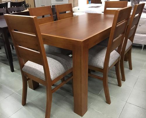 juego de comedor en madera maciza- 6 sillas tapizadas