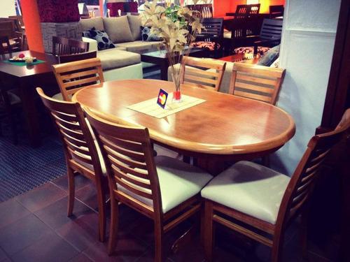 juego de comedor extensible, mesa oval extensible madera