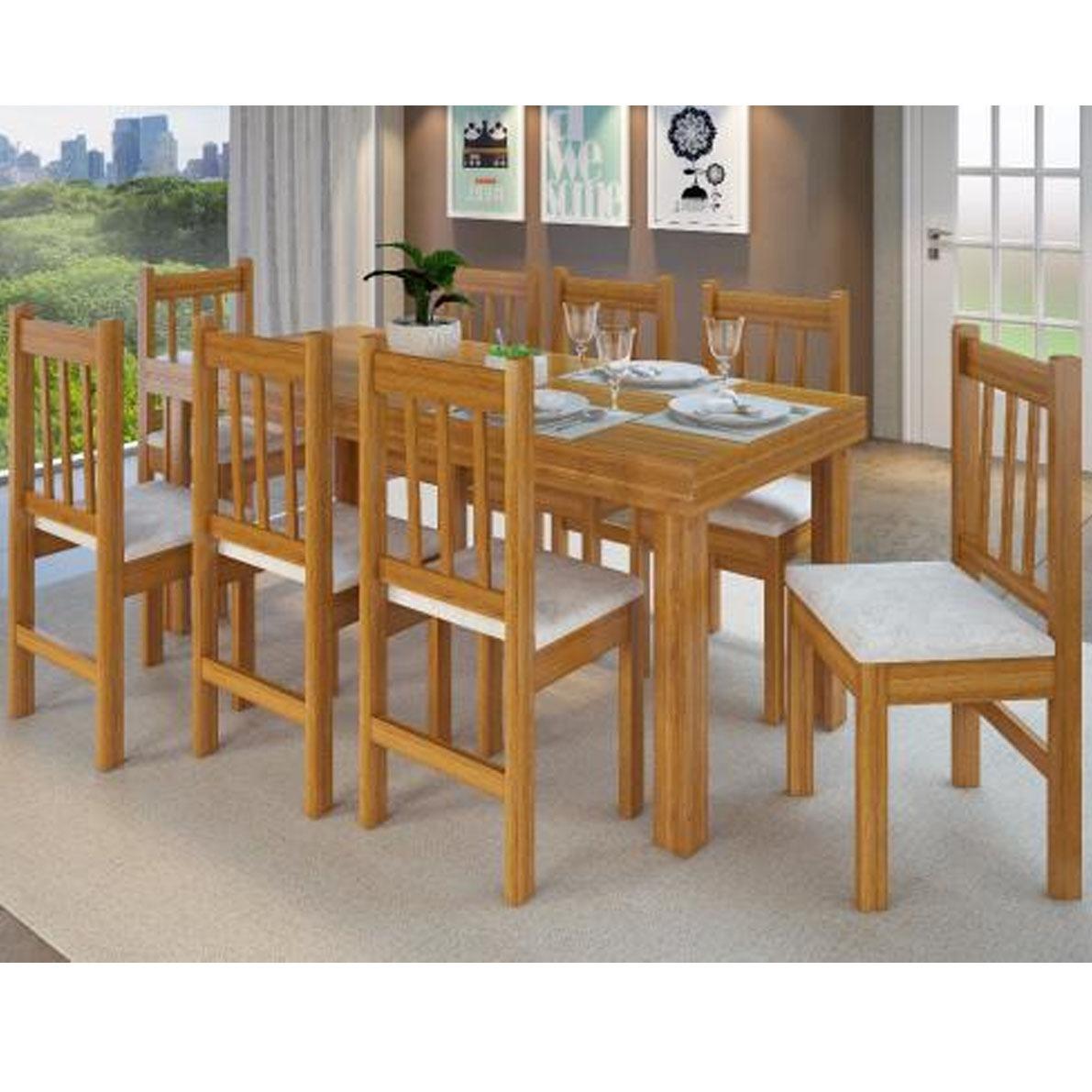 Juego de comedor madera mesa y 8 sillas tapizadas for Juego de comedor de madera