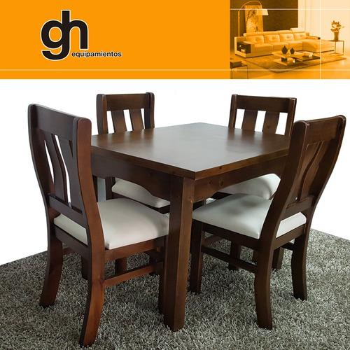 juego de comedor mesa con 4 sillas lustrado y tapizado gh
