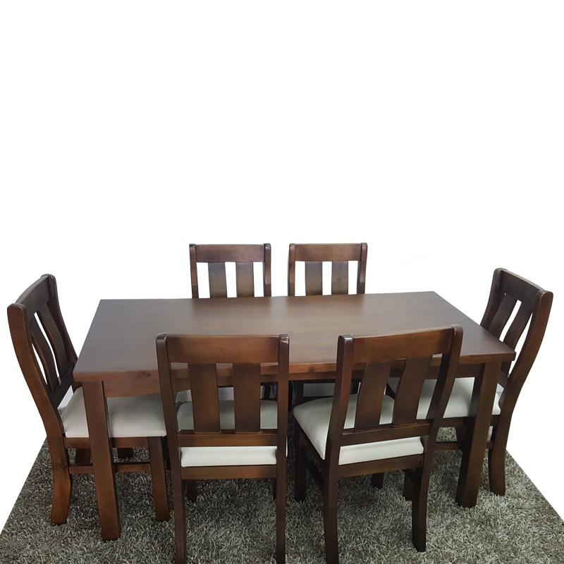 Juego de comedor mesa con 6 sillas tapizadas sillones gh for Ofertas de sillas de comedor