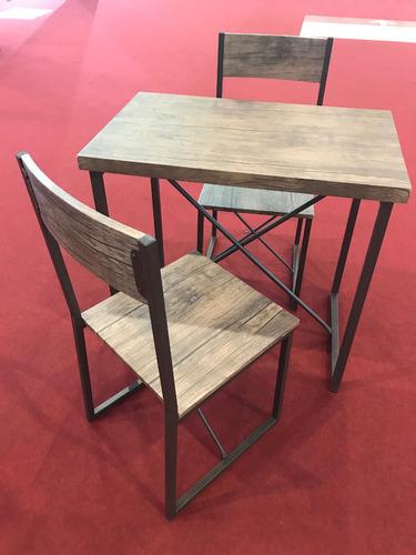 juego de comedor mesa diseño + 2 sillas se da armado