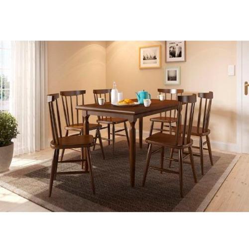 juego de comedor rectangular con 6 sillas udine castaño mate
