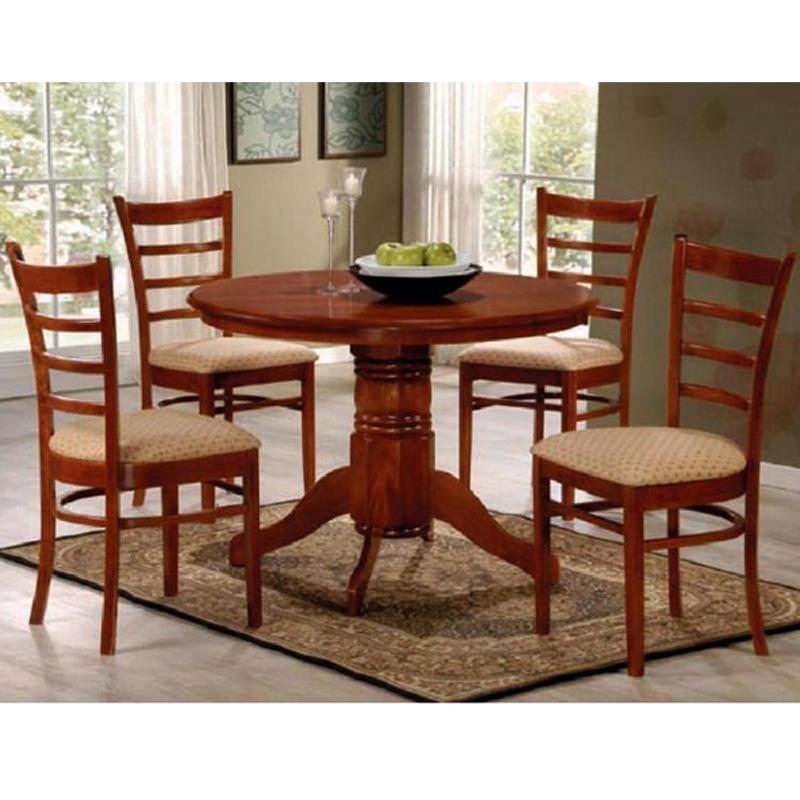 Juego de comedor redondo 4 sillas tapizadas madera for Juego de comedor de madera