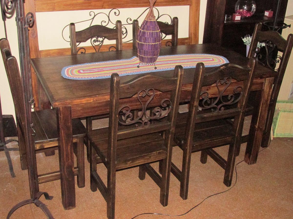 Juego de comedor r stico madera maciza en for Muebles madera maciza uruguay
