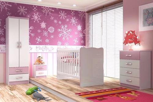 juego de dormitorio infantil rosa ropero+cuna+comoda bebes