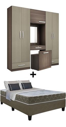 juego de dormitorio sommier 2 plazas colchón placard ropero