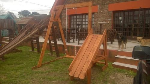 juego de hamaca y tobogán pino macizo con protector madera
