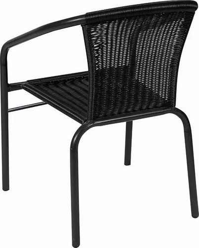 juego de jardín 2 sillas de ratan y mesa de vidrio