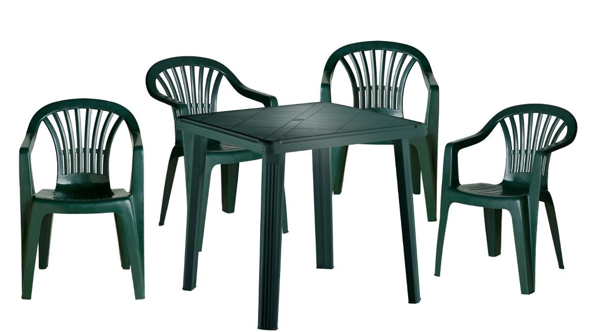 Juego de jard n exterior pl stico 4 sillas mesa verde for Sillas de plastico para jardin