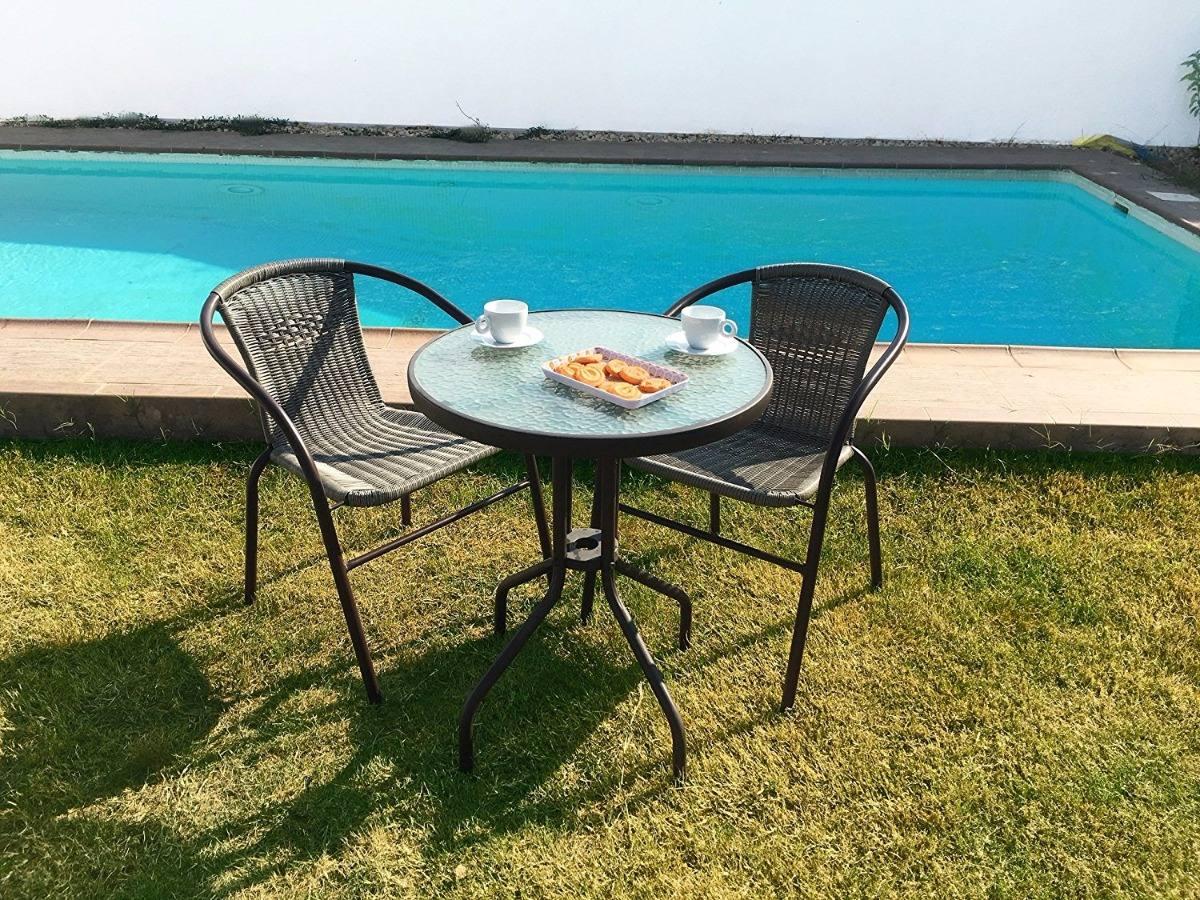 Juego de jardin hierro 2 sillas rat n mesa vidrio - Sillas madera jardin ...