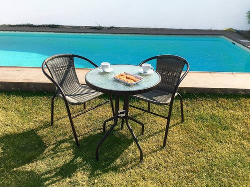 juego de jardin hierro 2 sillas ratán mesa vidrio exteriores