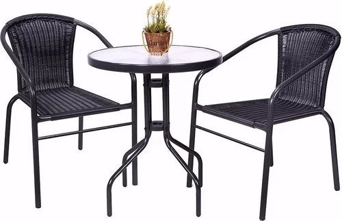 juego de jardin mesa de vidrio + 2 sillas ratan mejor precio