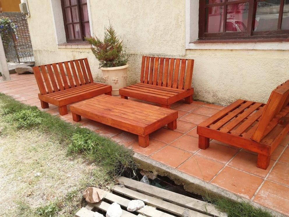Juego de jard n palet pallet en mercado libre for Colchon para muebles de jardin en palet