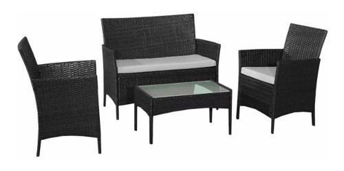 juego de jardin ratan - mesa + sillón 2 cuerpos + 2 butacas