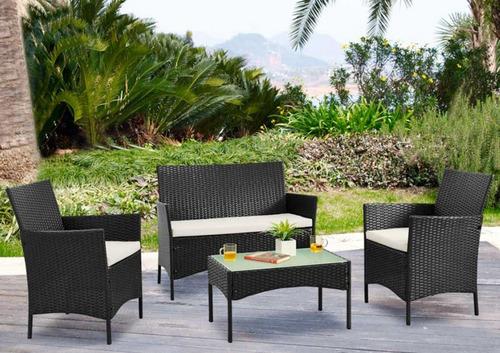 juego de jardín rattán mesa + sillón + 2 butacas + sombrilla
