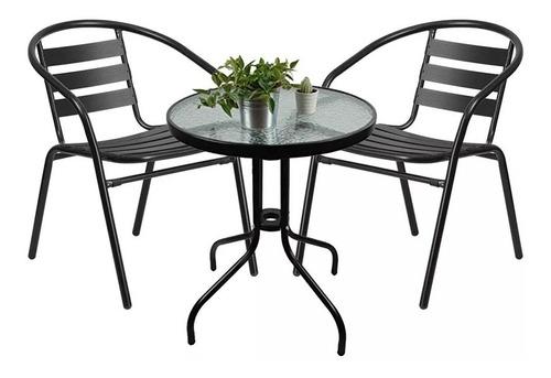 juego de jardín sillas y mesa de vidrio color negro