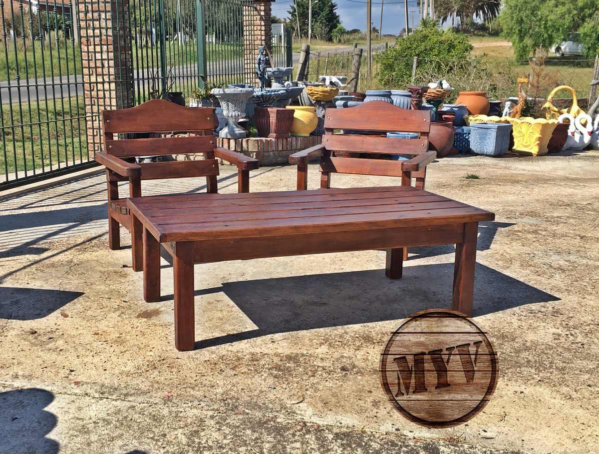 Juego de jardin sillones mesa madera descanso patio for Sillones de jardin