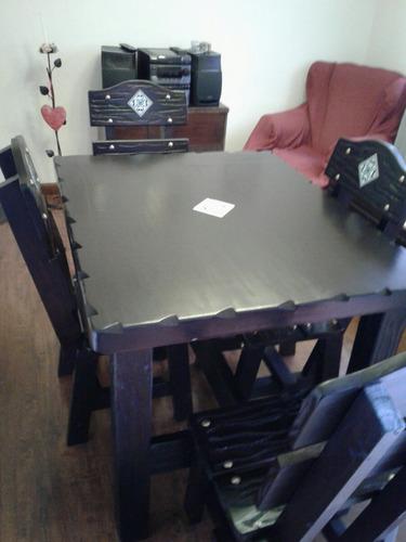 juego de mesa y sillas rustica para cocina o comedor