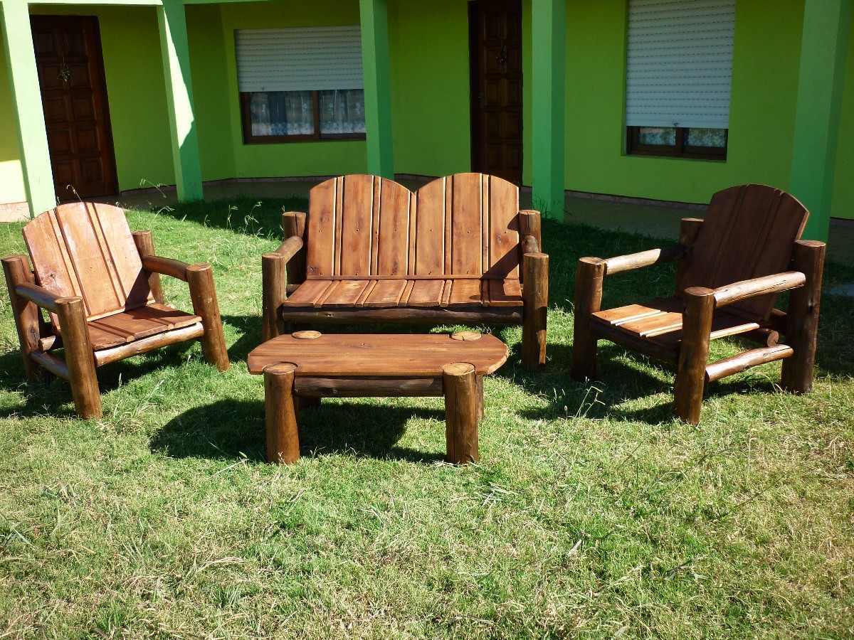 Juego de sillones jardin madera tratada para exterior for Sillones de jardin de madera