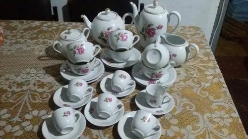 juego de te y cafe completo en porcelana olmos 28 piezas