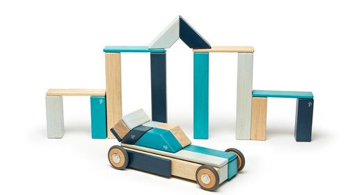 juego didáctico bloques de madera con iman azul 42 piezas