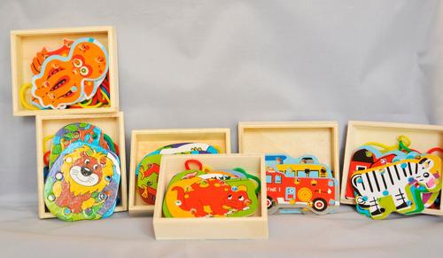 juego didáctico de madera piezas de enhebrado varios modelos