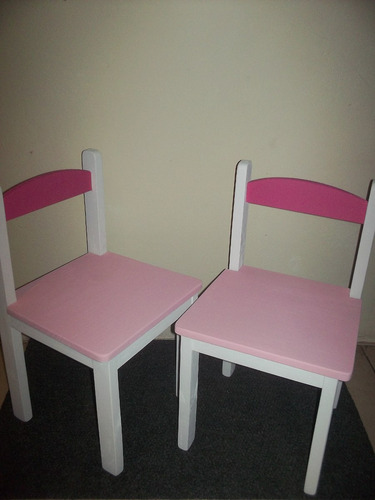 juego madera niños sillas+ mesa artesanal 2 tonos