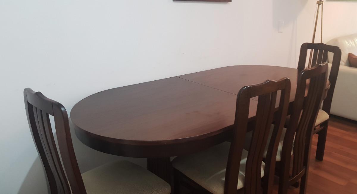 Juego Mesa Comedor Madera Chocolate 6 Sillas Tapizadas - $ 9.000,00